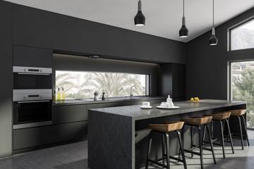 Gray kitchen corner, bar and countertops