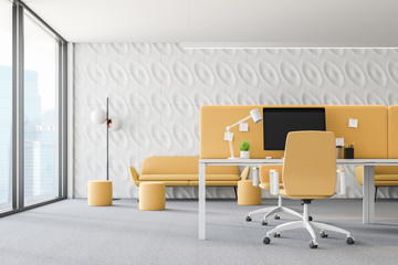 White and yellow loft office interior
