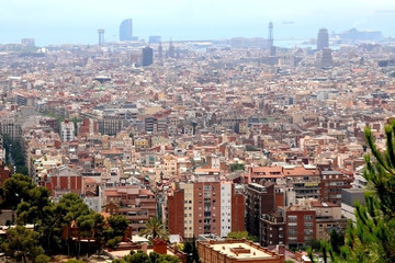 Aerial view of Barcelona, Spain from Park Güell on a sunny day.