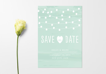 Wedding Invitation Layout with String Light Illustrations. Save the Date Invitation