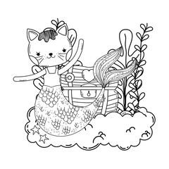 cute purrmaid with treasure chest