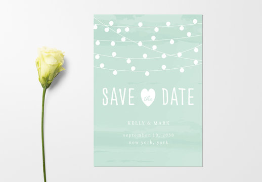 Wedding Invitation Layout with String of Lights Illustration