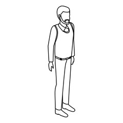 Man avatar isometric concept black and white