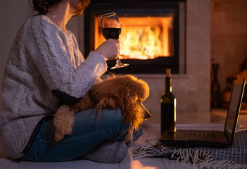 Young freelancer woman sits at the floor with a laptop and drinking wine on the fireplace background . Woman with her dog resting by the fireplace.