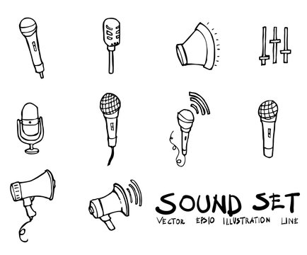 Set of Sound icon Drawing illustration Hand drawn doodle Sketch line vector eps10