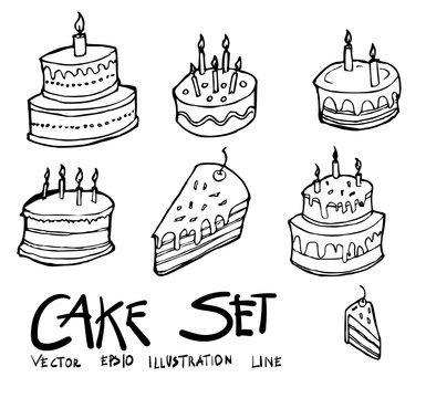 Set of Birthday cake icon Drawing illustration Hand drawn doodle Sketch line vector eps10