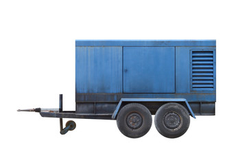 blue car trailer isolated on white background