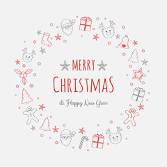 Merry Christmas and Happy New Year - greeting card with hand drawn ornaments. Vector.