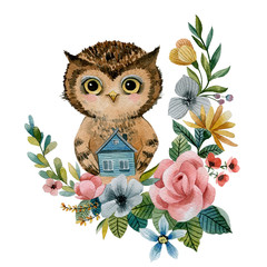 Owl holds a small house . watercolor