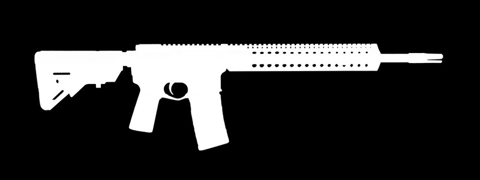 White AR-15 silhouette on a black background