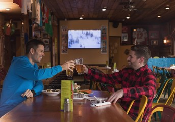 Friends toasting beer glasses in pub