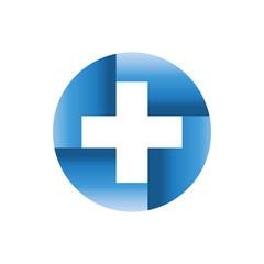 Medical blue logo design template vector logo. Pharmacy Logo abstract design template. Medical clinic icon.