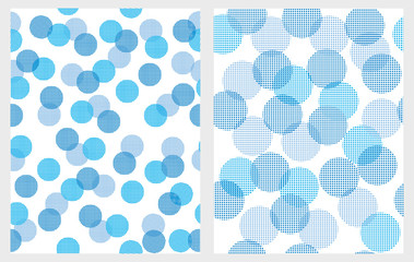 Funny Abstract Blue Lights Vector Patterns.White Backgrounds. Round Shape Blue Lights. Creative Bokeh Effect. Cute Geometric Repeatbale Design. Simple Pastel Colors Abstract Decoration.
