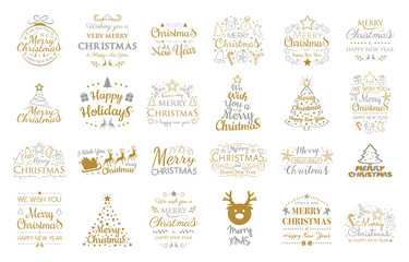Set with Christmas ornaments and wishes. Vector.