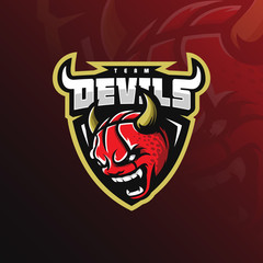 basketball mascot logo devil design vector with modern illustration concept style for badge, emblem and tshirt printing. angry devil basketball illustration with horns on the head.