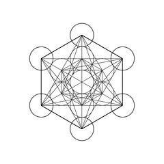 Metatrons Cube, Flower of Life. Sacred geometry, graphic element Vector isolated Illustration. Mystic icon platonic solids, abstract geometric drawing