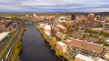 Aerial View Over Manchester New Hampshire Merrimack River