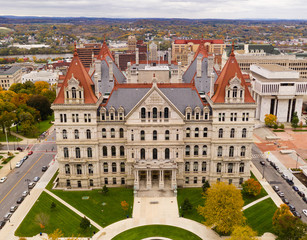 Fall Season New York Statehouse Capitol Building in Albany