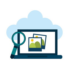 Laptop with pictures on cloud