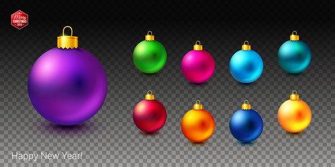 Set of shiny and bright colored Christmas balls on transparent background.