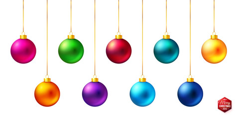 Set of nine shiny, bright and realistic colored Christmas balls hanging on white.