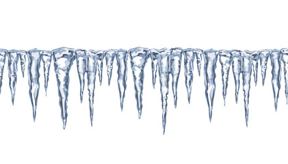 Icy seamless border,  icicles.