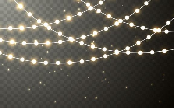 Xmas Color garland, festive decorations. Glowing christmas lights transparent effect decoration on dark background. Vector illustration