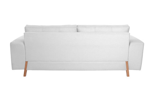 Three seats cozy white fabric sofa isolated on white