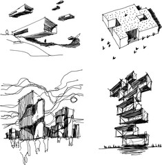 four hand drawn architectectural sketches of  modern abstract architecture with people around