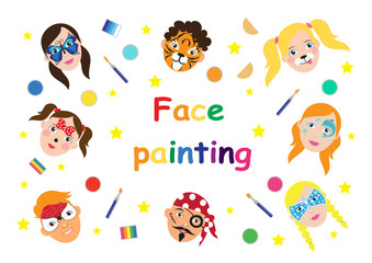 Face painting for kids collection. set of icons in cartoon flat style for banner, poster. children's holiday background. Vector illustration
