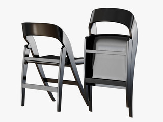 Two black folding chair 3d rendering