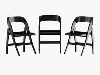 Three black folding chair 3d rendering