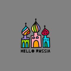 Travel card concept with cathedral and text 'hello Russia' Doodle style.