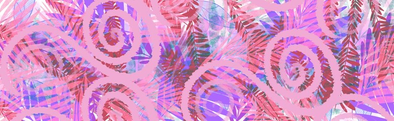 Header banner horizontal Abstract tropical jungle garden decorative spring summer pretty background design