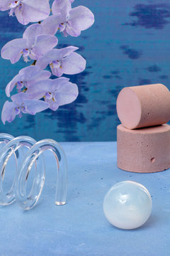 Flower with sponge, vase and soap on table