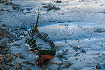 Ruins fishing boat in harbor of Safi