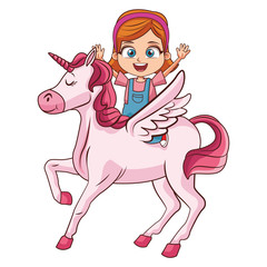 Girl on unicorn cartoon