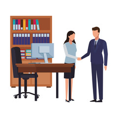 Business people and office elements