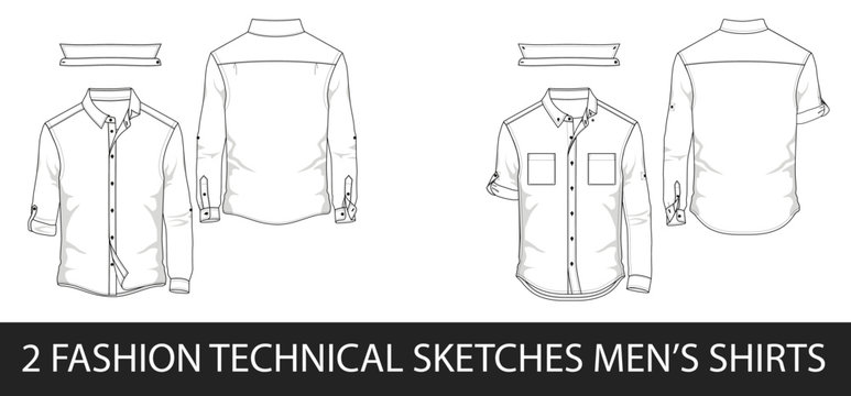 2 Fashion technical sketches men's shirt with long sleeves and patch pockets in vector.