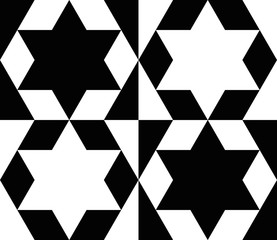 Black and white star tile pattern