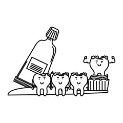 cartoon dental care teeth black and white