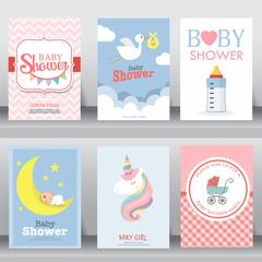 cute baby shower invitation. vector