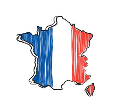 France map and flag in sketch hand