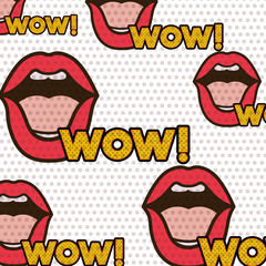 lips with wow pattern isolated icon