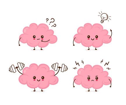 Cute funny brain emotions set
