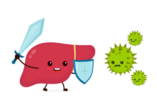 Cute strong happy smiling healthy liver