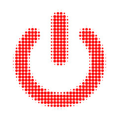 Turn off halftone dotted icon. Halftone array contains round dots. Vector illustration of turn off icon on a white background.