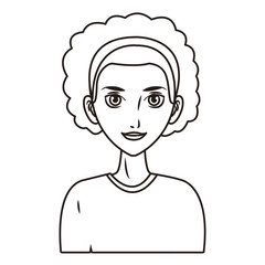 young woman face cartoon in black and white