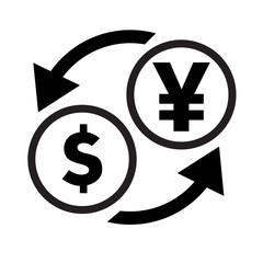 Currency exchange sign. Japan Yen and dollar