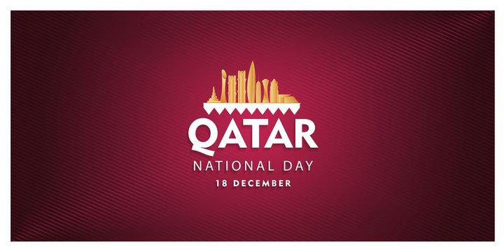 qatar national day celebration 18 december, qatar silhouette building and waving flag, vector illustration,